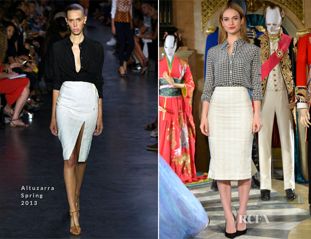 Lily James In Altuzarra - Cinderella Exhibition Photocall