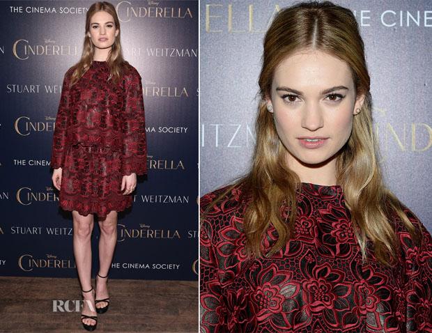 Lily James In Dolce & Gabbana - 'Cinderella' New York Screening