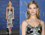 Lily James In Mary Katrantzou - 'Cinderella' Mexico City Photocall