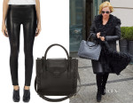Margot Robbie's J Brand Super Skinny Leather Leggings & Loeffler Randall Junior Work Tote