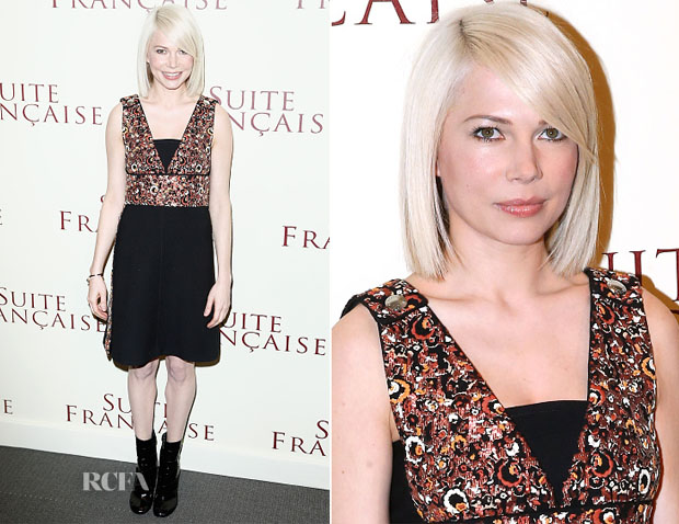 Michelle Williams In Louis Vuitton - 'Suite Française' Paris Premiere