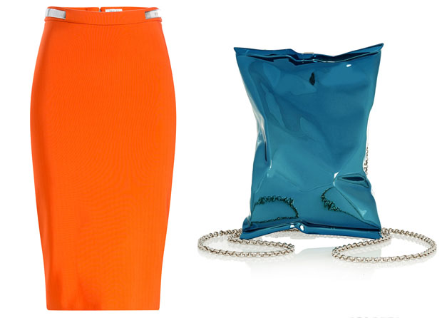 Mugler Crepe Pencil Skirt & ANYA HINDMARCH Crisp Packet metallic clutch
