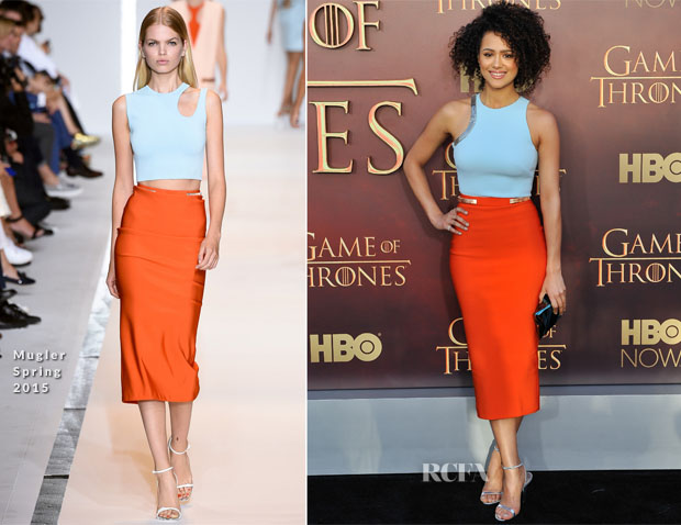 Nathalie Emmanuel In Mugler - 'Game of Thrones' Season 5 Premiere
