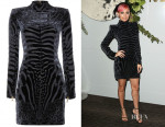 Nicole Richie Balmain Velvet and Silk-Chiffon Mini Dress