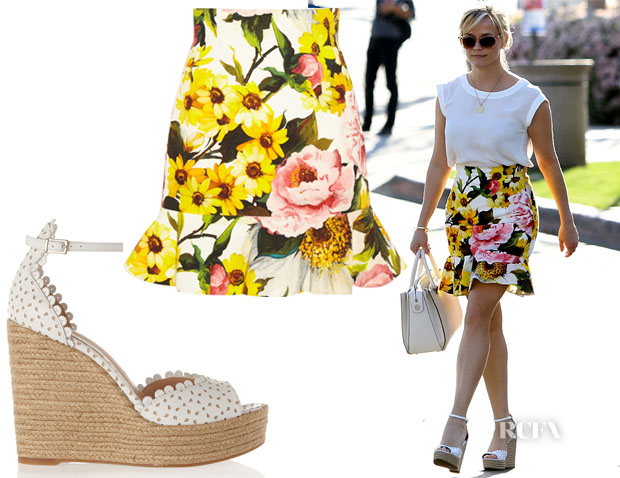 Reese Witherspoon's Dolce & Gabbana Floral-Print Skirt & Tabitha Simmons Harp perforated leather wedge sandals