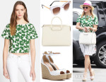 Reese Witherspoon's Kate Spade New York Garden Leaves Crop Top, Thierry Lasry Sexxxy Sunglasses, The Row Satchel 12 Leather Tote & Tabitha Simmons Harp Wedge Sandals