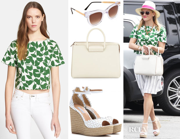 Reese Witherspoon's Kate Spade New York 'garden leaves' stretch cotton crop top, Thierry Lasry Sexxxy Sunglasses, The Row Satchel 12 Leather Tote & Tabitha Simmons Harp wedge sandals