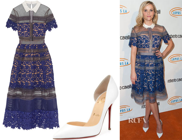Reese Witherspoon's Self-Portrait Liliana Paneled Floral-Lace and Mesh Dress & Christian Louboutin Iriza Pumps