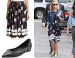 Reese Witherspoon's Suno Floral Print Dress & Valentino Rockstud Flats
