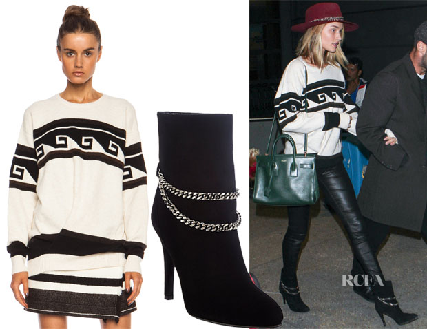 Rosie Huntington-Whiteley's Isabel Marant Samuel Surround Knit Polyamide-Blend Pullover & Saint Laurent Chain-Strap Debbie Ankle Boots