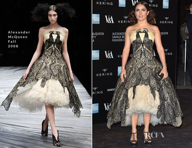 Salma Hayek In Alexander McQueen - Alexander McQueen Savage Beauty Exhibition Private View
