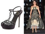Salma Hayek's Sergio Rossi Scalloped Crystal T-Strap Platform Sandals