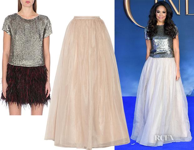 Sarah-Jane Crawford's Alice + Olivia Sarita Boxy Sequin T-Shirt & Alice + Olivia Abella Silk-Organza Maxi Skirt