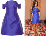Sarah-Jane Crawford's Carven Off-the-shoulder high-shine twill dress