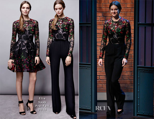 Shailene Woodley In Elie Saab - Late Night with Seth Meyers