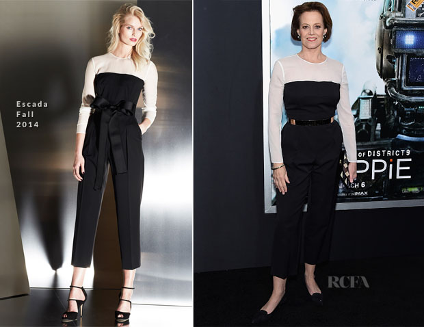 Sigourney Weaver In Escada - 'Chappie' New York Premiere