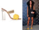 Solange Knowles' Sophia Webster + Shrimps Skye Faux Fur-Trimmed Stingray-Effect Leather Sandals
