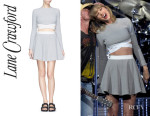Taylor Swift's Lane Crawford 'Sedonna' Cutout Side Knit Crop Top And Lane Crawford 'Alanis' check knit skater skirt