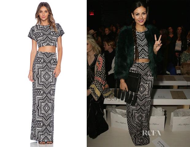 Victoria Justice's Mara Hoffman Crop Top & Maxi Skirt