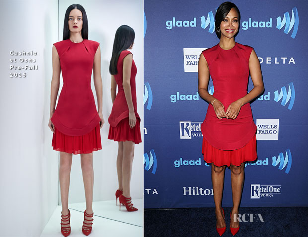 Zoe Saldana In Cushnie et Ochs - 26th Annual GLAAD Media Awards