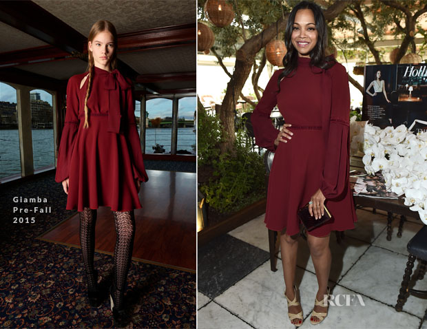 Zoe Saldana In Giamba - The Hollywood Reporters' 25 Most Powerful Stylists in Hollywood Luncheon