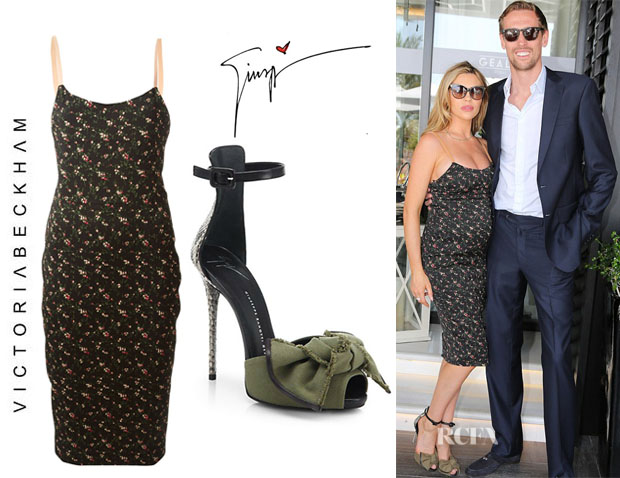 Abbey Clancy's Victoria Beckham Floral Print Dress And Giuseppe Zanotti Python & Canvas Bow Sandals