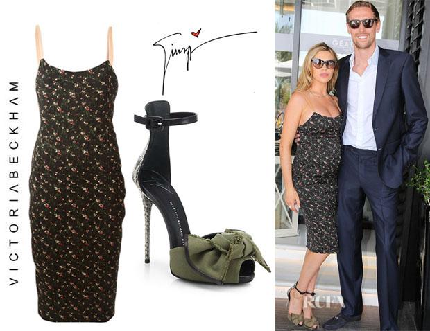 Abbey Clancy's Victoria Beckham Floral Print Dress And Giuseppe Zanotti Python & Canvas Bow Sandals