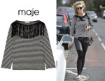 Alex Gerrard's Maje 'Trilogie' Fringed Cotton-Jersey Top
