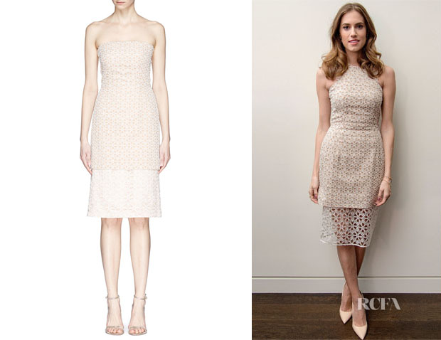 Allison Williams' Alexander McQueen Floral Lace Bustier Chiffon Dress