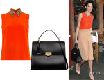 Amal Clooney's Gucci Python-Collar Silk Top And Balenciaga 'Le Dix Cartable M' Leather Tote