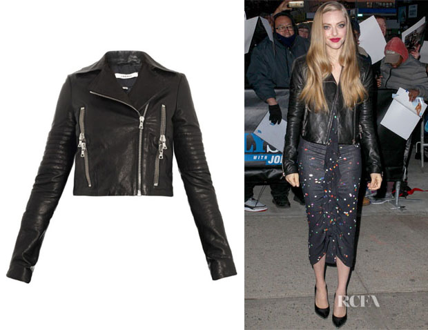 Amanda Seyfried's J Brand 'Aiah' Leather Jacket