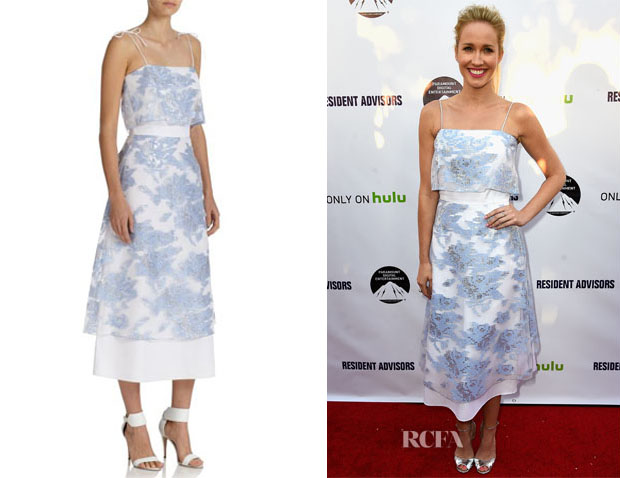 Anna Camp's Suno Printed Sheer-Overlay Dress