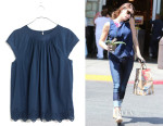 Ashley Greene's Madewell Eyelet-Hem Stitched Peasant Top