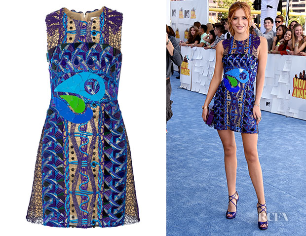 Bella Thorne S Peter Pilotto Opus Embellished Lace Mini Dress