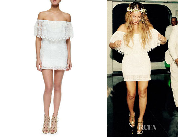 Beyoncé Knowles' Golden by JPB 'Wilderness' Off-the-Shoulder Dress