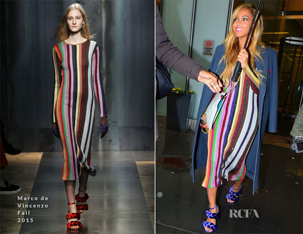 Beyonce Knowles In Marco De Vincenzo Out New York City