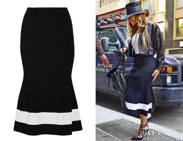 Beyonce Knowles' Victoria Beckham Fluted Striped Stretch-Knit Midi Skirt