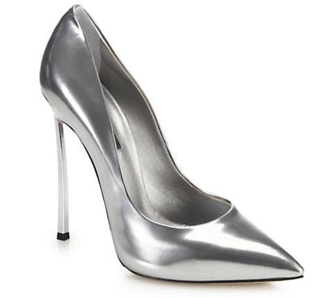 Casadei metallic silver pump