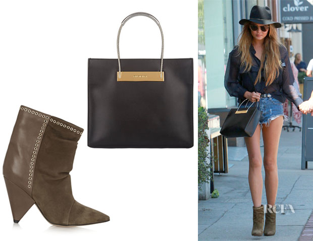 Chrissy Teigen's Balenciaga Cable Shopper And Isabel Marant 'Lance' Embellished Suede And Leather Ankle Boots1