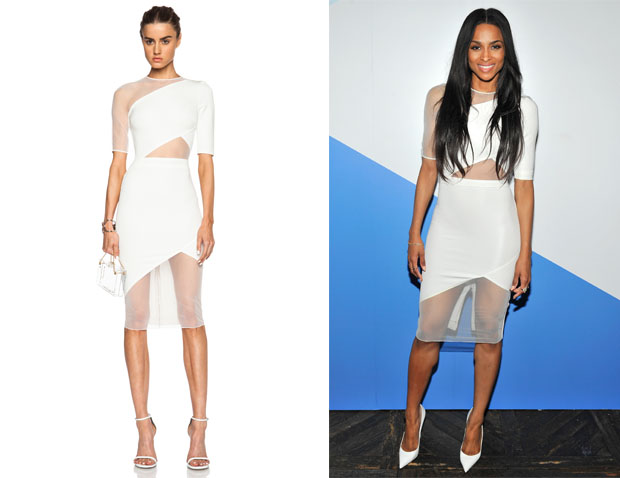 Ciara's David Koma Short Sleeve Net Insert Pencil Dress