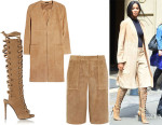 Ciara's Theory 'Ankan' Suede Coat, Theory 'Gera' Suede Culottes And Giuseppe Zanotti Textured-Suede Knee Boots