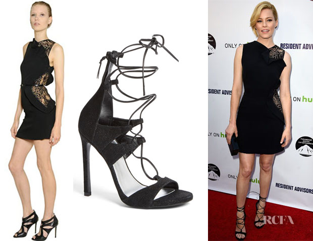 Elizabeth Banks' Elie Saab Lace Cady Dress And Stuart Weitzman Lace-Up Sandals