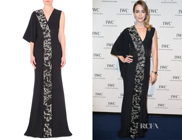 Emily Blunt's Alexander McQueen Embellished Draped-Sleeve Crepe Gown