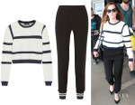 Emma Watson's Tibi 'Sailor' Cropped Sweater And Tibi 'Bibelot' Crepe Track Pants