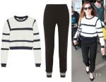 Emma Watson's Tibi 'Sailor' Cropped Sweater And Tibi 'Bibelot' Crepe Track Pants