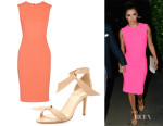 Eva Longoria's Roland Mouret 'Sesia' Wool-Crepe Dress And Alexandre Birman Leather Bow-Tie d'Orsay Sandals