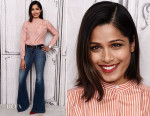 Freida Pinto In Burberry & J Brand - AOL BUILD Speaker Series: The Cast Of 'Desert Dancer'