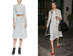 Freida Pinto's Elizabeth and James 'Jayren' Boat-Neck Crop Top And Elizabeth and James 'Akemi' Striped A-Line Skirt