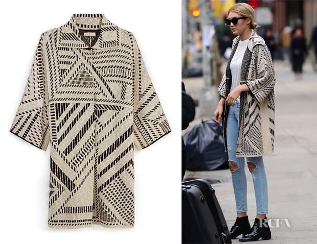 Gigi Hadid's Tory Burch Jacquard Oversized Coat