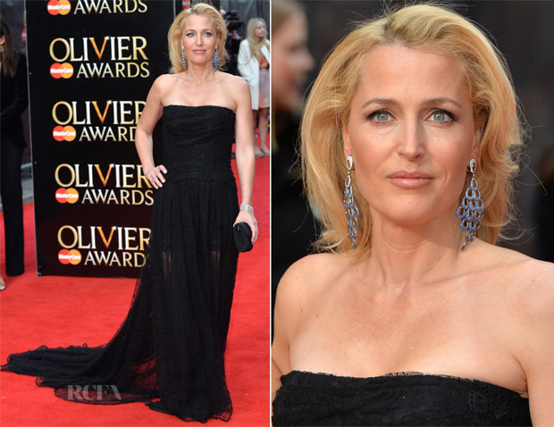 Gillian Anderson In Burberry - 2015 Olivier Awards